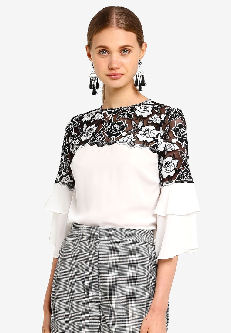c0bc3d97addb52 Frill Lipsy Lace Top Mono White Sleeve qwS1EF-klausecares.com