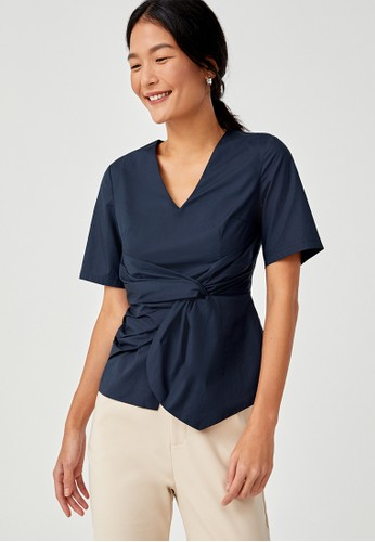 Love, Bonito navy Safira Knotted Peplum Blouse 3929EAA9E2A2D6GS_1