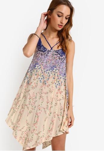 花卉印花不對稱裙擺背心裙, zalora鞋服飾, 洋裝