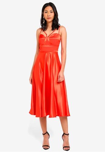 Little Mistress orange Satin Midi Dress F1E20AA1C16EF6GS_1