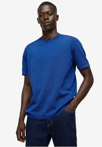 MANGO Man 藍色 Knit Cotton T-Shirt ABDC0AA8602748GS_1