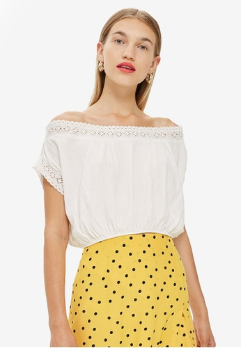 TOPSHOP white Off Shoulder Trim Top E1F9FAAAA784E8GS_1