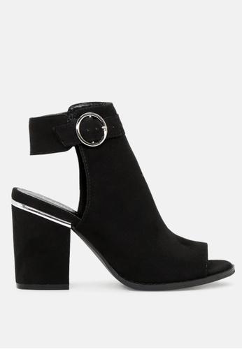 London Rag black Peep Toe Slingback MID Heel Sandals SH1788 1E98FSHA71EFA3GS_1
