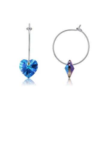 Glamorousky blue 925 Sterling Silver Simple Fashion Circle Heart Shape Earrings with Blue Austrian Element Crystal 210C6AC7CC4B35GS_1