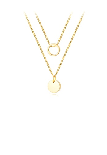 Glamorousky silver Simple and Fashion Plated Gold Geometric Round 316L Stainless Steel Pendant with Double Necklace 8F0F8ACFFEDB54GS_1