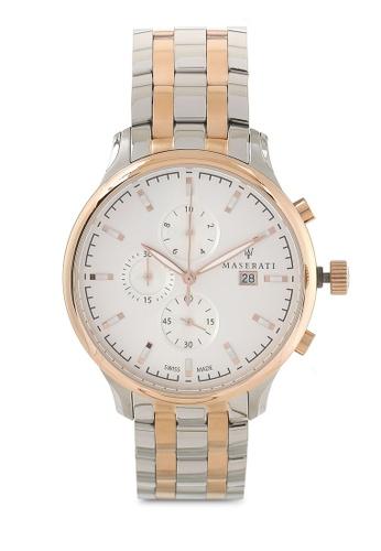Maserati silver and gold Attrazione Swiss Made 43mm Bracelet Watch MA410AC75HHOMY_1