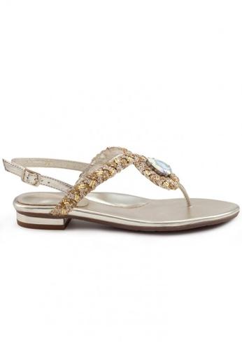 Shu Talk gold Boho Nappa Leather T-Strap Sandal SH397SH0FPJCSG_1