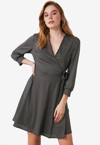Trendyol black Tie Waist Wrap Dress E168DAAC240BD9GS_1