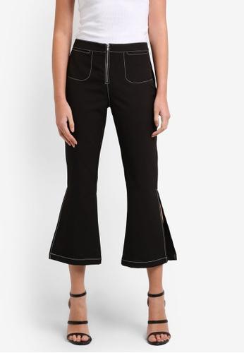 Something Borrowed black Split Cropped Flare Pants 8FF41ZZ0158EC9GS_1