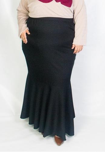 Zaryluq black Curve Fishtale Skirt in Espresso 5EEECAA42D08BAGS_1