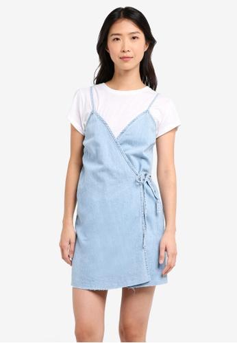 Supre blue Denim Wrap Dress With Raw Edge 2B9D3AA9F58F9AGS_1