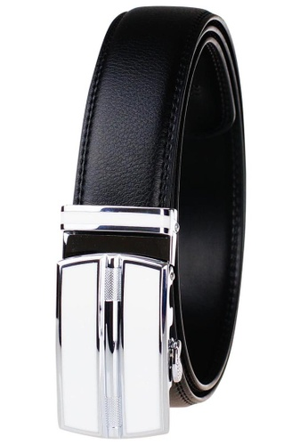 FANYU white Leather Dress Belt With Automatic Buckle belt 0C846AC734AB1BGS_1