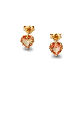Glamorousky gold 925 Sterling Silver Plated Gold Simple Romantic Heart-shaped Champagne Cubic Zirconia Stud Earrings 5CD69AC5E7058FGS_1
