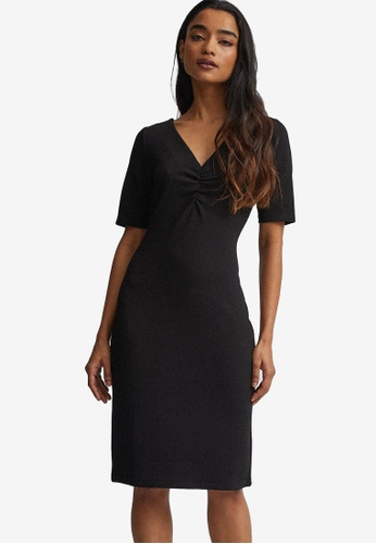Dorothy Perkins black Petite Black Ruched Bodycon Dress 2A799AA1192CF9GS_1