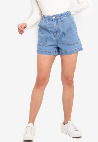 various colors factory authentic best service Buy ZALORA Elastic Waist Denim Shorts | ZALORA HK