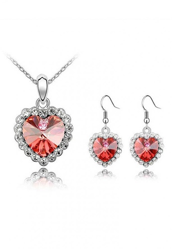 LOVENGIFTS red and silver LOVENGIFTS Love You Forever Jewellery Set (Cherry Red) LO429AC0RWKMMY_1
