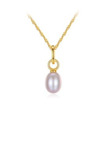 Glamorousky purple 925 Sterling Silver Plated Gold Simple Fashion Geometric Purple Freshwater Pearl Pendant with Necklace 798F2ACC349243GS_1
