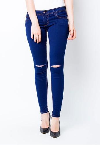 Nuber navy Aster Ladies Mid Waist Jeans Tattered 1 Gold/Navy - Stretch NU492AA0U5UGID_1