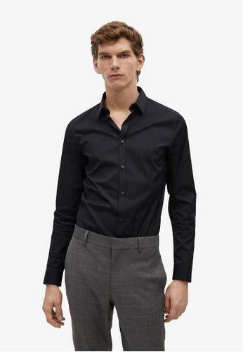 Mango Man black Super Slim-Fit Tailored Stretch Cotton Shirt F7B81AA880D86CGS_1