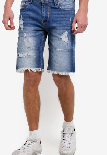 抽鬚刷破丹寧短褲, 服飾,zalora 泳衣 短褲