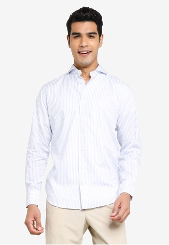 Sacoor Brothers blue Slim fit new classic easy iron cotton shirt 8F336AADEE5B7CGS_1