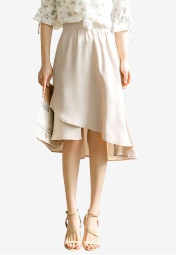Tokichoi beige Chiffon Hi-Low Skirt 45B8FAAEDF43B7GS_1