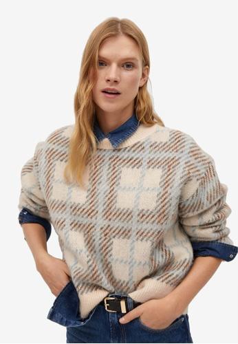 Mango beige Checked Textured Sweater A9EC1AAA8203D8GS_1