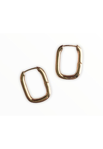 CINDERTOELLA gold Cindertoella Nelly 18K Gold Plated Hook Earrings Rectangle Minimal Statement Gold Color D122BACF8162D1GS_1