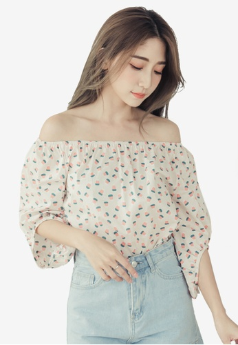 Eyescream multi and beige Printed Off Shoulder Top 32AF5AA0697E02GS_1
