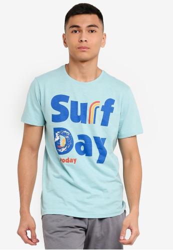OVS 藍色 Men's What's Today T-Shirt 39F63AA3C1561BGS_1