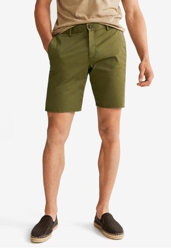 Mango Man 米褐色 Plain Cotton Bermuda Shorts D8EB6AAD988AD3GS_1