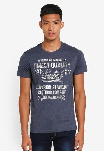 !Solid navy Naboth Washed Vintage Printed T-Shirt DB44BAAD2C425CGS_1