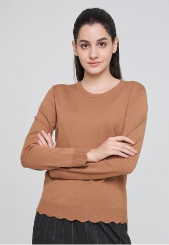 Sisley brown Square Neck Sweater 1C894AAD32672EGS_1