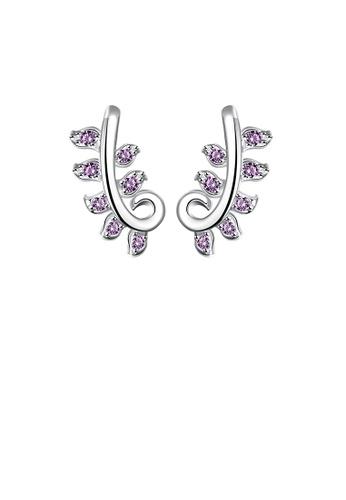Glamorousky purple Fashion Personality Pattern Earrings with Purple Cubic Zircon 150CBAC91C7FB2GS_1