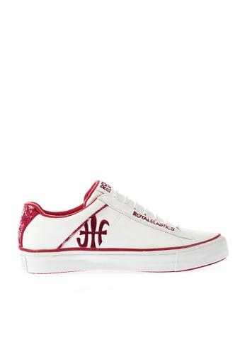 Royal Elastics white and red Cruiser Leather Sneakers RO796SH2UYKTHK_1