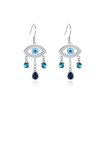 Glamorousky white 925 Sterling Silver Fashion Devil's Eye Earrings with Blue Austrian Element Crystal A1434AC5907E48GS_1