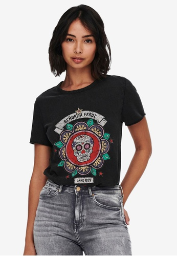 ONLY black Lucy Life Regular Short Sleeves Mexi Tee ECEC4AA4A1A13CGS_1