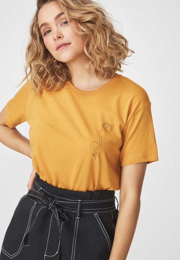 Fox Tbar Cotton Graphic Shirt T Yellow On qHwACwE