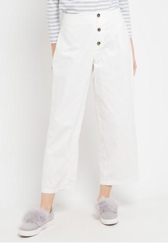 ZAHRA SIGNATURE white Cotton Linen Culotte 5A7BDAA8FECE8FGS_1