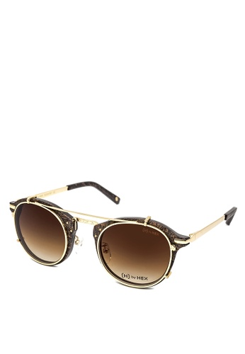 HEX EYEWEAR gold and brown Scientist - Michael F. - Optical with Clip-on - Italy Design HE671AC2V1KPHK_1