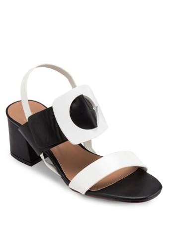 MCesprit官網 扣環飾粗跟涼鞋, 女鞋, 鞋