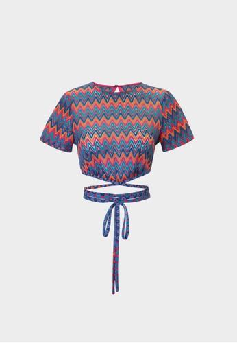 Pomelo blue Zigzag Waist Tie Crop Top - Navy A5756AAA7EE9B5GS_1
