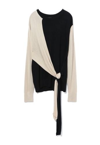 GREENISHPINK black Colour block front tie sweater. 6017DAAED92427GS_1