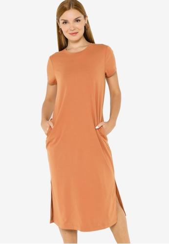 Banana Republic orange Short Sleeve Knit Midi T-Shirt Dress F4986AA9B5A049GS_1