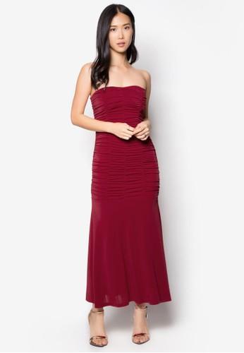 抓褶露肩長禮服, 服飾,zalora鞋子評價 洋裝