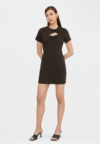 Pomelo brown Ruched Neck Accent Dress - Dark Brown FA8E8AAF7D4C2CGS_1