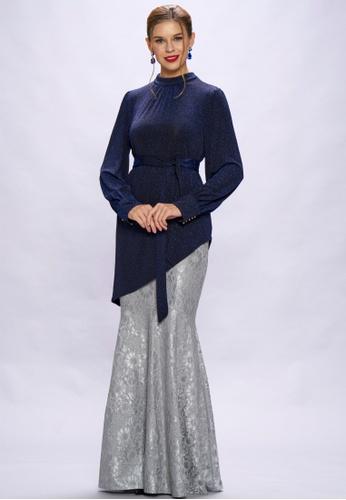 Loveaisyah multi Victoria Long Sleeves Asymmetrical Top & Silver Mermaid Skirt Set 52969AA46EC50CGS_1