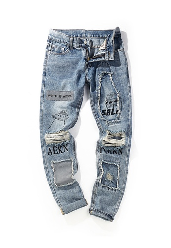 Twenty Eight Shoes Ripped Graffited Printed Jeans TP581 A8452AA4020F1BGS_1