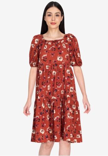 Deity brown Tiered Puff Sleeve Midi Dress BEED1AAB494A3CGS_1