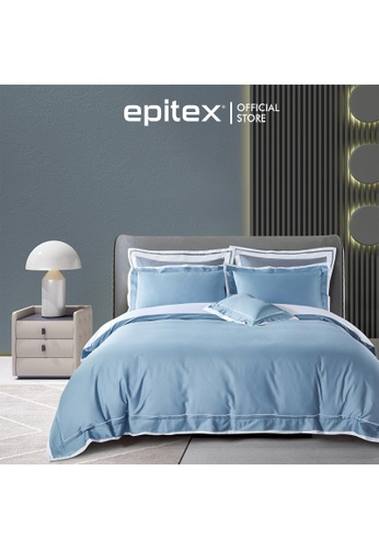 Epitex white and blue Epitex Hotel Collection 1200TC 100% Egyptian Cotton EH2305-1 Bedsheet F225EHLB25B845GS_1